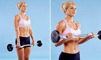 forearm muscle workout ez curl bar woman